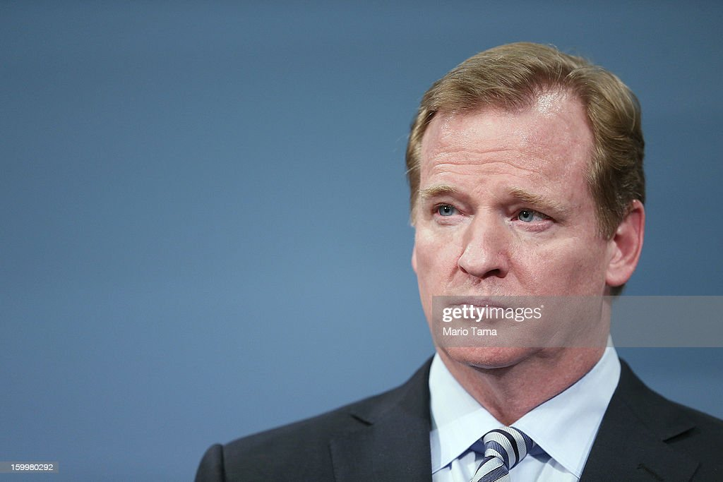 National Football League (NFL) Commissioner <a gi-track='captionPersonalityLinkClicked' href=/galleries/search?phrase=Roger+Goodell&family=editorial&specificpeople=744758 ng-click='$event.stopPropagation()'>Roger Goodell</a> looks on at a City Hall press conference announcing plans for Super Bowl XLVIII in the region on January 24, 2012 in New York City. The New York/New Jersey region's first Super Bowl will see the creation of a 'Super Bowl Boulevard' fan attraction along Broadway in midtown Manhattan.
