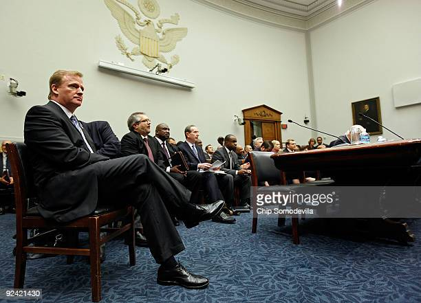 National Football League Commissioner Roger Goodell prepares testify before the House Judiciary Committee about football brain injuries on Capitol...