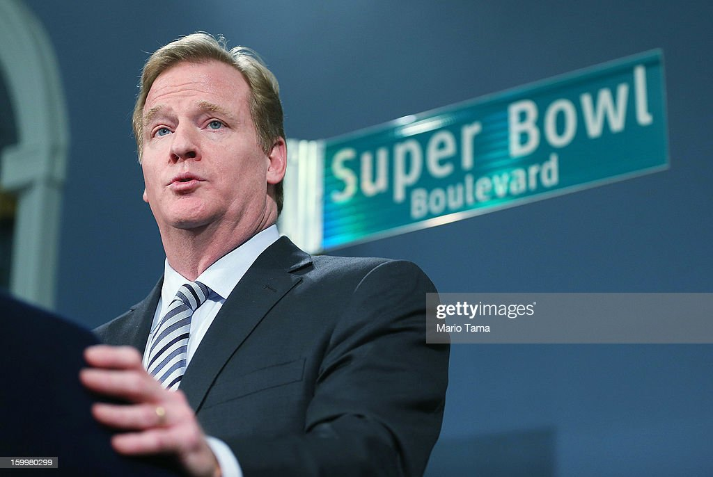 National Football League (NFL) Commissioner Roger Goodell speaks at a City Hall press conference announcing plans for Super Bowl XLVIII in the region on January 24, 2012 in New York City. The New York/New Jersey region's first Super Bowl will see the creation of a 'Super Bowl Boulevard' fan attraction along Broadway in midtown Manhattan.