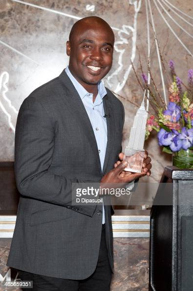National Football League Hall of Fame running back Marshall Faulk lights The Empire State Building on January 28 2014 in New York City