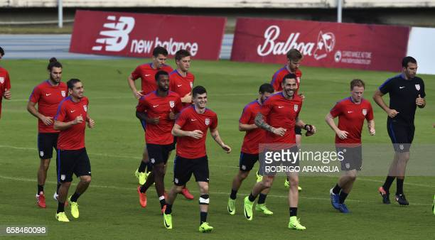 US national football team players take part in a training session at the Rommel Fernandez stadium in Panama City on March 27 ahead of a World Cup...