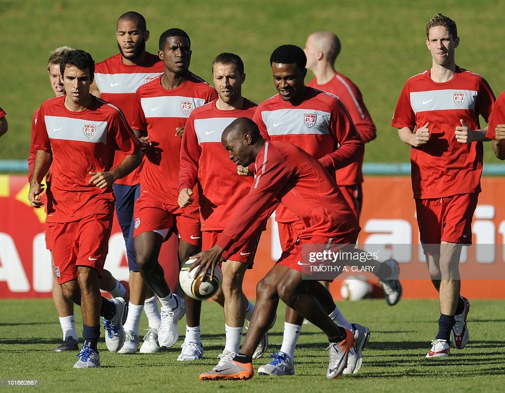 US national football team warm up around the field during an open training session for fans at Pilditch Stadium in Pretoria on June 6, 2010. The US is preparing for their 1st game next week in the 2010 FIFA World Cup.