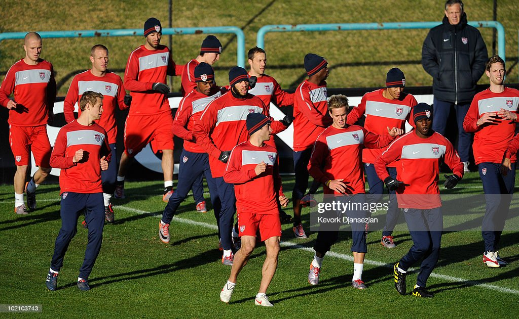 US national football team warms up during training session on June 15, 2010 in Pretoria, South Africa. US will play their next World Cup Group C match against Slovenia on Friday June 18, 2010.