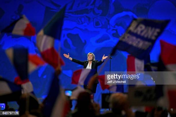 National Front Leader Marine Le Pen holds a presidential campaign rally at the Zenith Metropole on February 26 2017 in Lyon France One of the most...