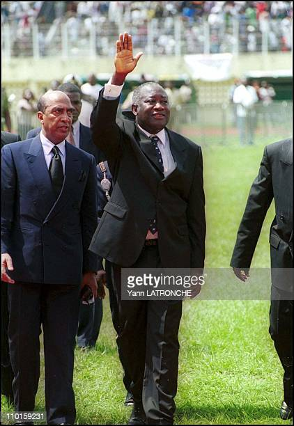 National funeral of the 'democraty martyrs' in Abidjan Cote d'Ivoire on November 09 2000 Houphouet Boigny stadium President Laurent Bagboy