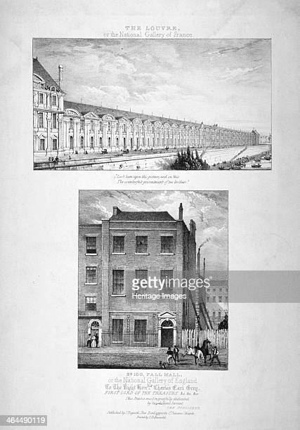 National Gallery 100 Pall Mall Westminster London c1825 Surmounted by an image of the Louvre Paris Before the gallery on Trafalgar Square was...