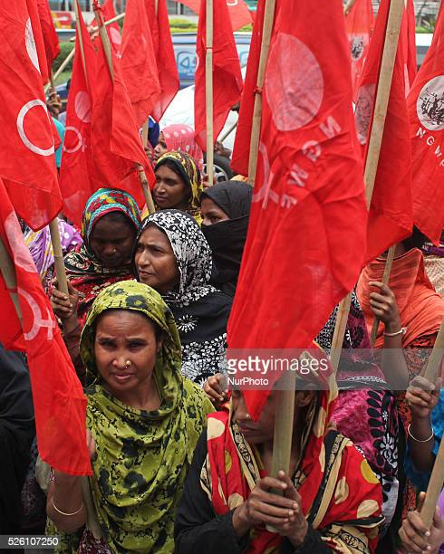 National Garments Worker Federation made a protest in front of National Press Club in Dhaka demanding all dues for them immediately and trail of the...