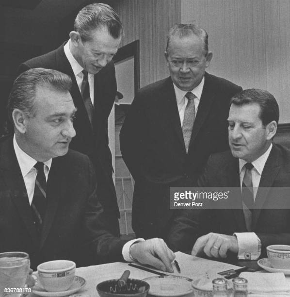 National General Corp Executives Meet From left are Eugene V Klein President and chairman of the board Dan Polier and William Thedford codirectors of...