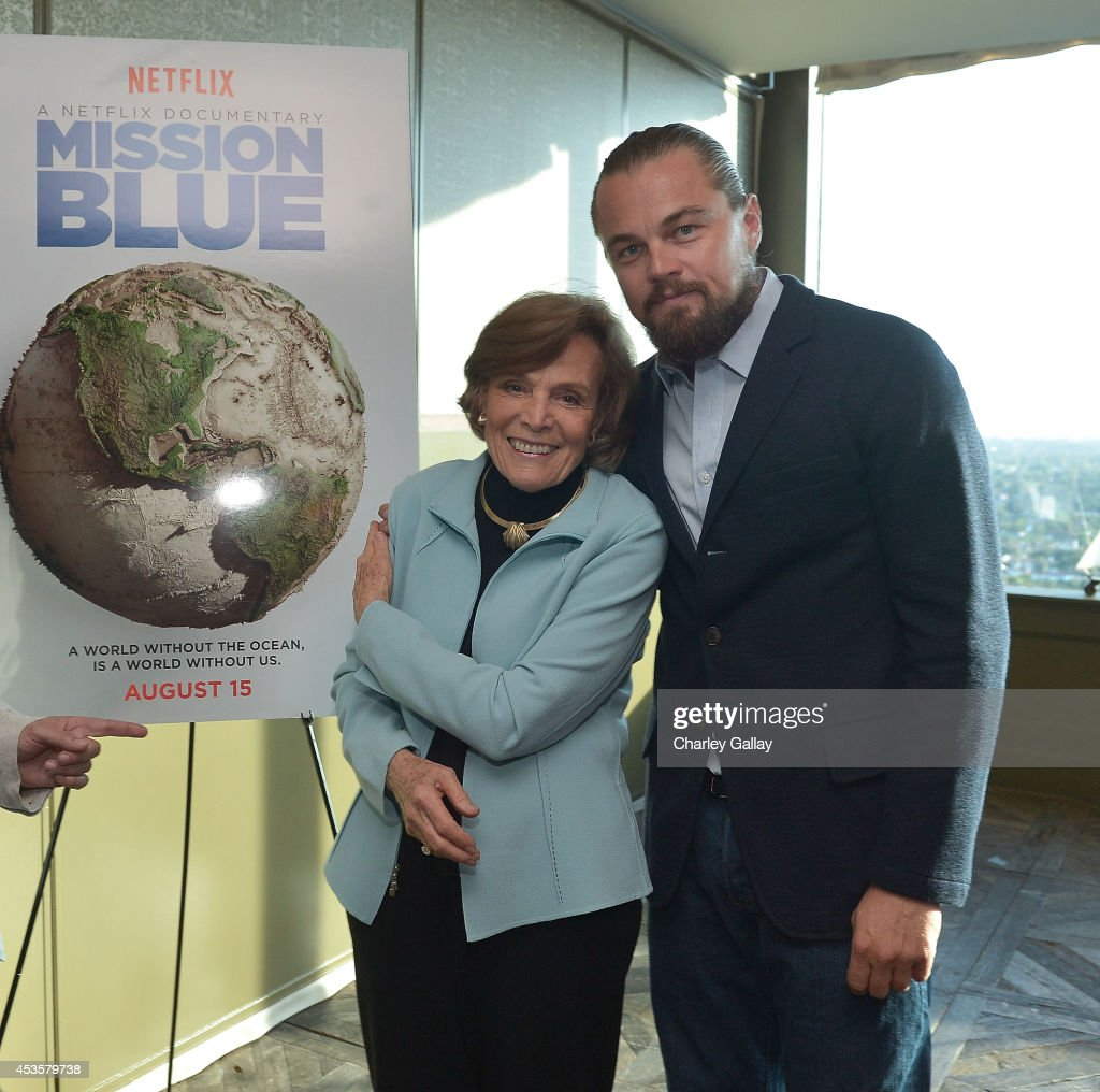 National Geographic ExplorerinResidence Sylvia Earle and Leonardo DiCaprio attend a screening of the Netflix documentary 'Mission Blue' hosted by...