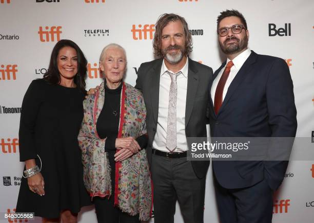 National Geographic Global Networks CEO Courteney Monroe Jane Goodall Director Brett Morgen and National Geographic's President Original Programming...