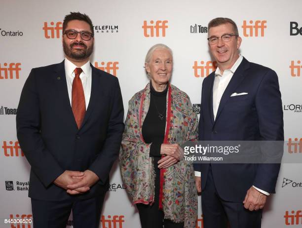 National Geographic's President Original Programming Production Tim Pastore Jane Goodall and National Geographic's EVP Development Production Jeff...