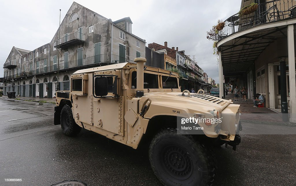A National Guard Humvee patrols in the French Quarter on August 28, 2012 in New Orleans, Louisiana. New Orleans is bracing as Hurricane Isaac, now a Category 1 storm, makes landfall.