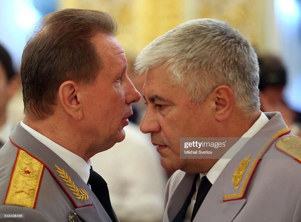 National Guard of Russia Commander-in-Chief Viktor Zolotov (L) talks to Interior Affairs Minister Vladimir Kolokoltsev (R) during the reception for graduates of military academies and universtities at the Grand Kremlin Palace on June 28, 2016 in Moscow, Russia.