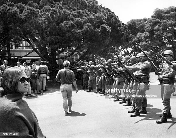 National Guardsmen called in by Governor Ronald Reagan establish a perimeter with fixed bayonets on the University of California campus during the...