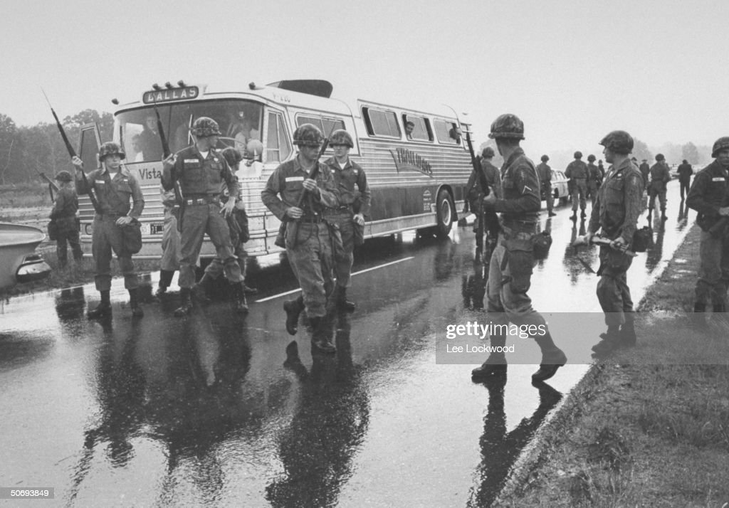 US National Guardsmen showing strong presence as Freedom Riders make bus trip from Montgomery Alabama to Jackson Mississippi