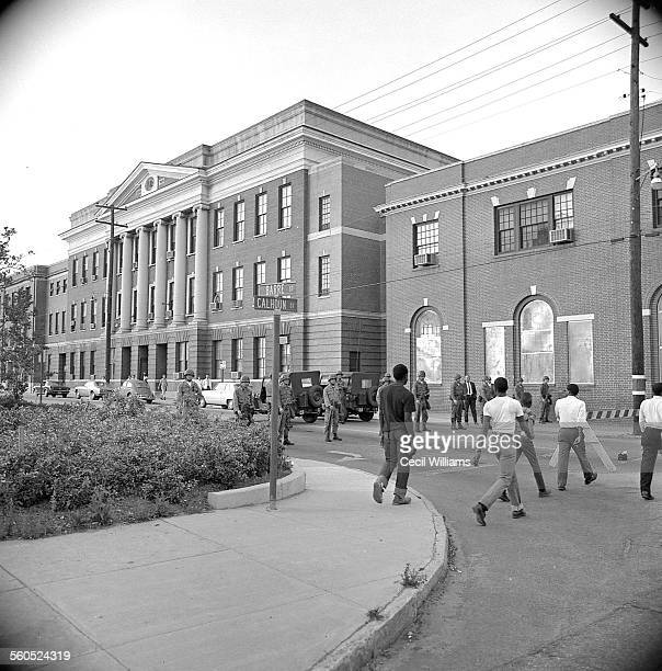 National Guardsmen stand guard on the streets of Charleston during the 105 day Hospital Workers' Strike Charleston South Carolina 1969