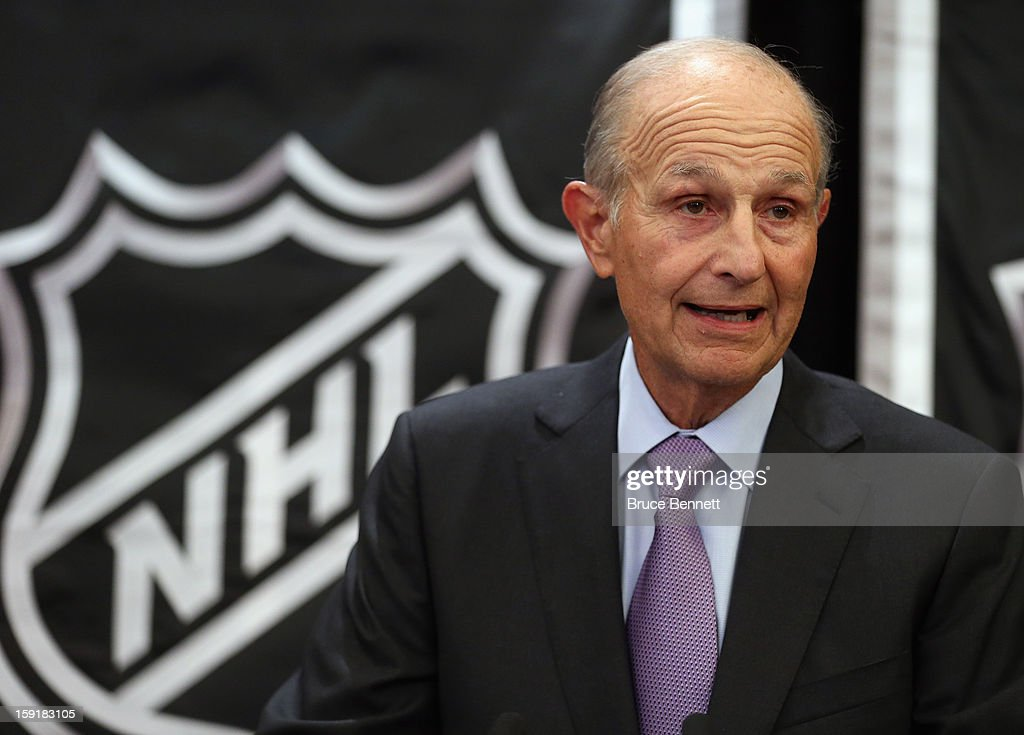 National Hockey League Chairman of the Board Jeremy Jacobs speaks with the media at a press conference announcing the start of the NHL season at the Westin Times Square on January 9, 2013 in New York City.