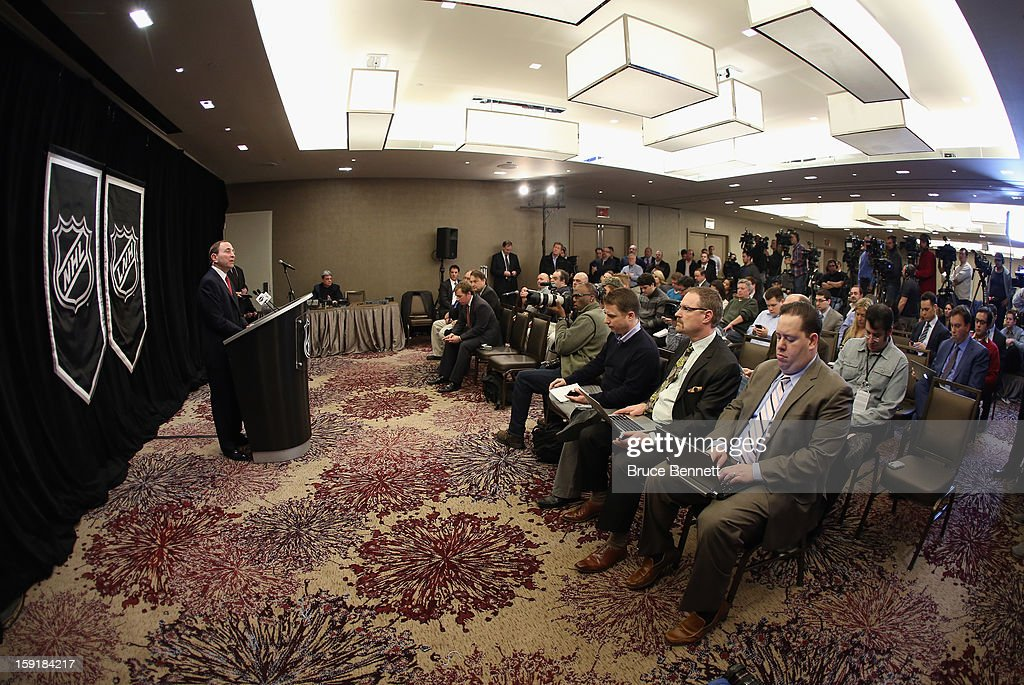 National Hockey League Commissioner <a gi-track='captionPersonalityLinkClicked' href=/galleries/search?phrase=Gary+Bettman&family=editorial&specificpeople=215089 ng-click='$event.stopPropagation()'>Gary Bettman</a> speaks with the media at a press conference announcing the start of the NHL season at the Westin Times Square on January 9, 2013 in New York City.