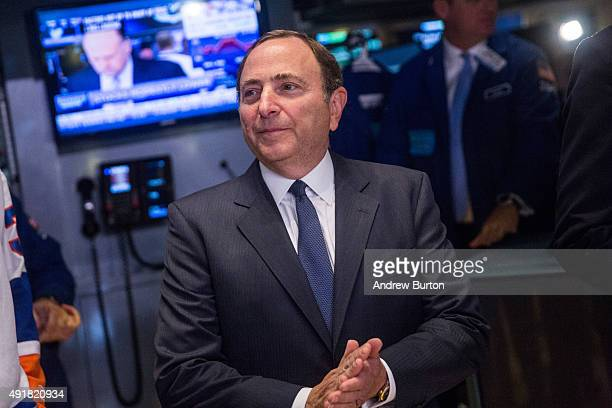 National Hockey League Commissioner Gary Bettman visits the floor of the New York Stock Exchange after ringing the opening bell on October 8 2015 in...