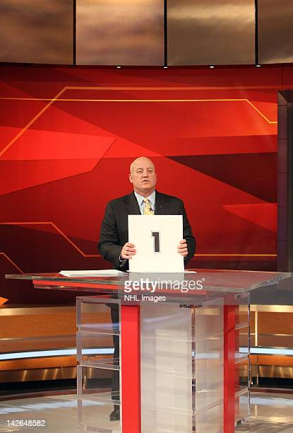 National Hockey League Deputy Commissioner Bill Daly announces the number one pick in the NHL Draft Lottery goes to the Edmonton Oilers on April 10...