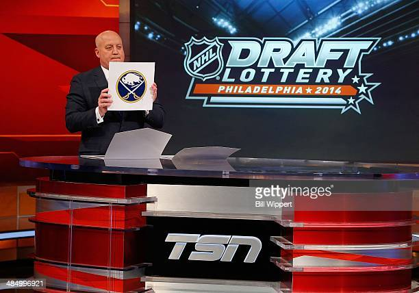 National Hockey League Deputy Commissioner Bill Daly announces the Buffalo Sabres as holders of the second pick at the 2014 NHL Draft Lottery on...