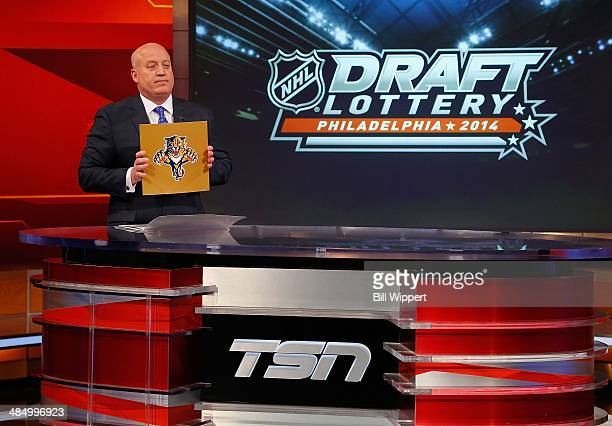 National Hockey League Deputy Commissioner Bill Daly announces the Florida Panthers as winners of the first pick at the 2014 NHL Draft Lottery on...