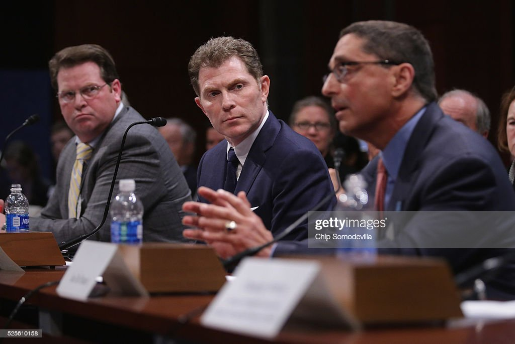 National Horsemen's Benevolent and Protective Association CEO Eric Hamelback, celebrity chef Bobby Flay and Maryland Jockey Club former CEO Joe De Francis, testify during a hearing of the Congressional Horse Caucus in the House Visitors Center at the U.S. Capitol April 28, 2016 in Washington, DC. A member of the Breeders' Cup board of directors, Flay is a thoroughbred race horse owner and supports the Thoroughbred Horseracing Integrity Act of 2015 which would create a national horseracing anti-doping authority.