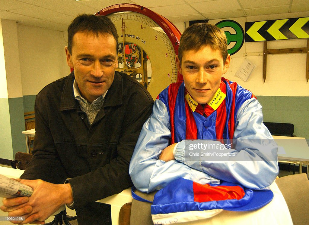 National Hunt jockey <a gi-track='captionPersonalityLinkClicked' href=/galleries/search?phrase=James+Davies&family=editorial&specificpeople=224593 ng-click='$event.stopPropagation()'>James Davies</a> with his father Hywel Davies (left), 31st OCtober 2003.