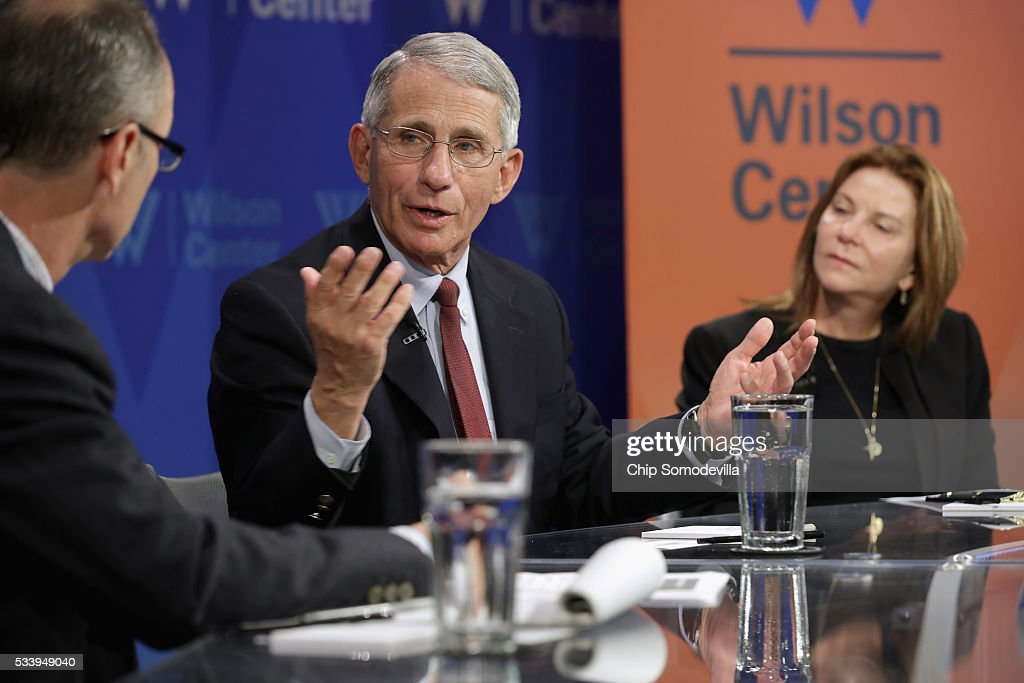 National Institute of Allergy and Infectious Director <a gi-track='captionPersonalityLinkClicked' href=/galleries/search?phrase=Anthony+Fauci&family=editorial&specificpeople=964622 ng-click='$event.stopPropagation()'>Anthony Fauci</a> (C) participates in a discussion on 'Zika in the U.S.: Can We Manage the Risk?' with National Public Radio Global Health and Development Correspondent Jason Beaubien (L) and Google Vice President of Public Policy Susan Molinari at the Woodrow Wilson Center May 24, 2016 in Washington, DC. A mosquito borne virus, Zika is expected to arrive in the United States this summer. Fauci noted that 80-percent of people infected with Zika never show symptoms of the disease and encourgaed people who have traveled to places with outbreaks should continue to wear mosquito repellant long after returning to the United States to reduce the risk of spreading the virus.