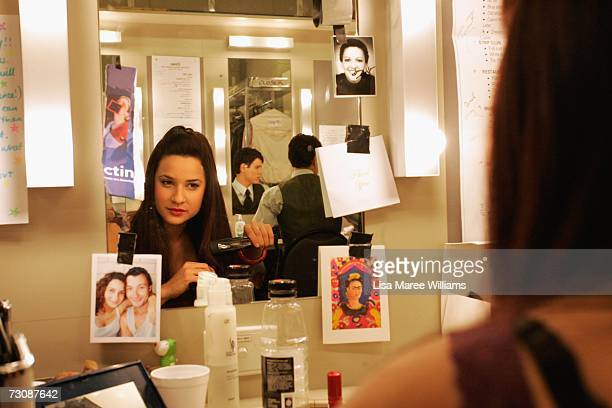 National Institute of Dramatic Art acting student Andrea Demetriades prepares to go on stage for the production of 'Closer' 2006 October 2 2006 in...