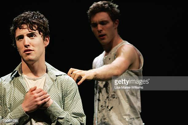 National Institute of Dramatic Art acting students Ben Gerrard and Anthony Gee rehearse for the stage production of 'Shopping and Fucking' 2006...