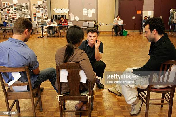 National Institute of Dramatic Art acting students rehearse for the stage production of 'The Laramie Project' under the direction of Tom Healey 2006...