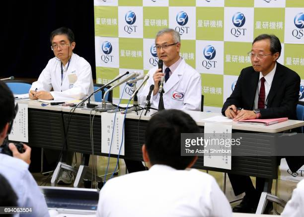National Institutes of Quantum and Radiological Sciences and Technology Executive Officer Makoto Akashi speaks during a press confereence after...