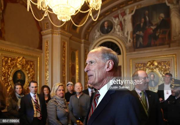 National Intelligence Director designee Dan Coats arrives for his swearingin ceremony at the US Capitol on March 16 2017 in Washington DC The US...