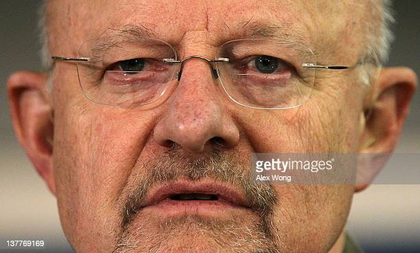 National Intelligence Director James Clapper addresses a conference of the Center for Strategic and International Studies January 26 2012 in...