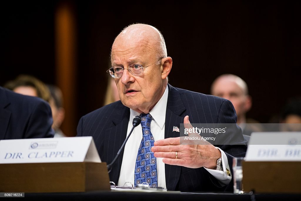 National Intelligence Director James Clapper testifies during a Senate Intelligence Committee hearing in Washington, USA on February 9, 2016.