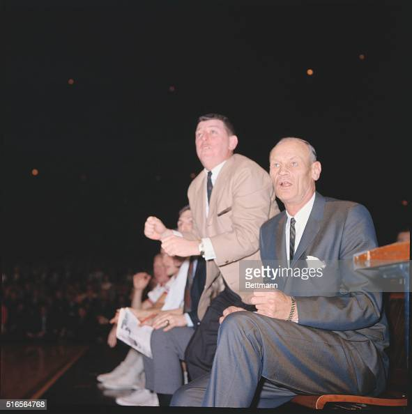National Invitation TournamentMadison Square Garden Game between Boston College and St John Coach Joe Lapcheck Grey Suit yells encouragement from the...