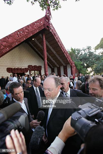 National leader Don Brash talks to the media outside at the Meeting House on the Treaty grounds after the Dawn service to celebrate Waitangi Day...