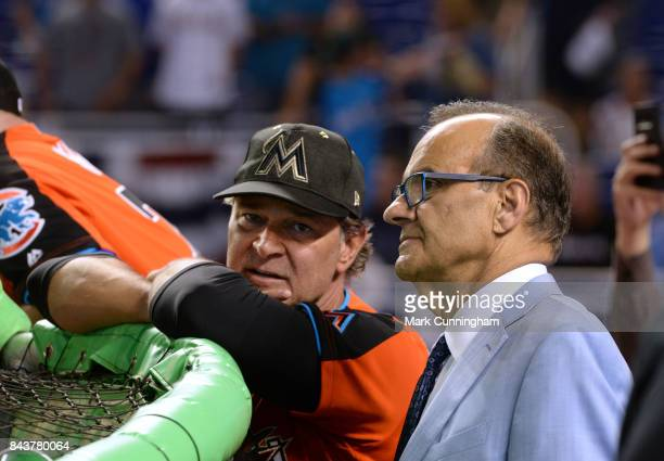 National League All Star Coach Don Mattingly of the Miami Marlins talks with Joe Torre at the batting cage during the 2017 Gatorade AllStar Workout...