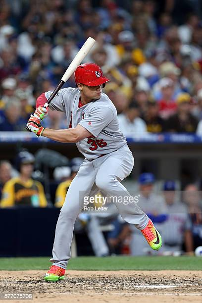National League AllStar Aledmys Diaz of the St Louis Cardinals bats against the American League AllStars during the 2016 MLB AllStar Game at Petco...
