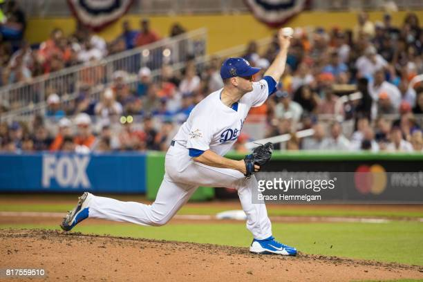 National League AllStar Alex Wood of the Los Angeles Dodgers pitches during the 88th MLB AllStar Game at Marlins Park on July 11 2017 in Miami Florida