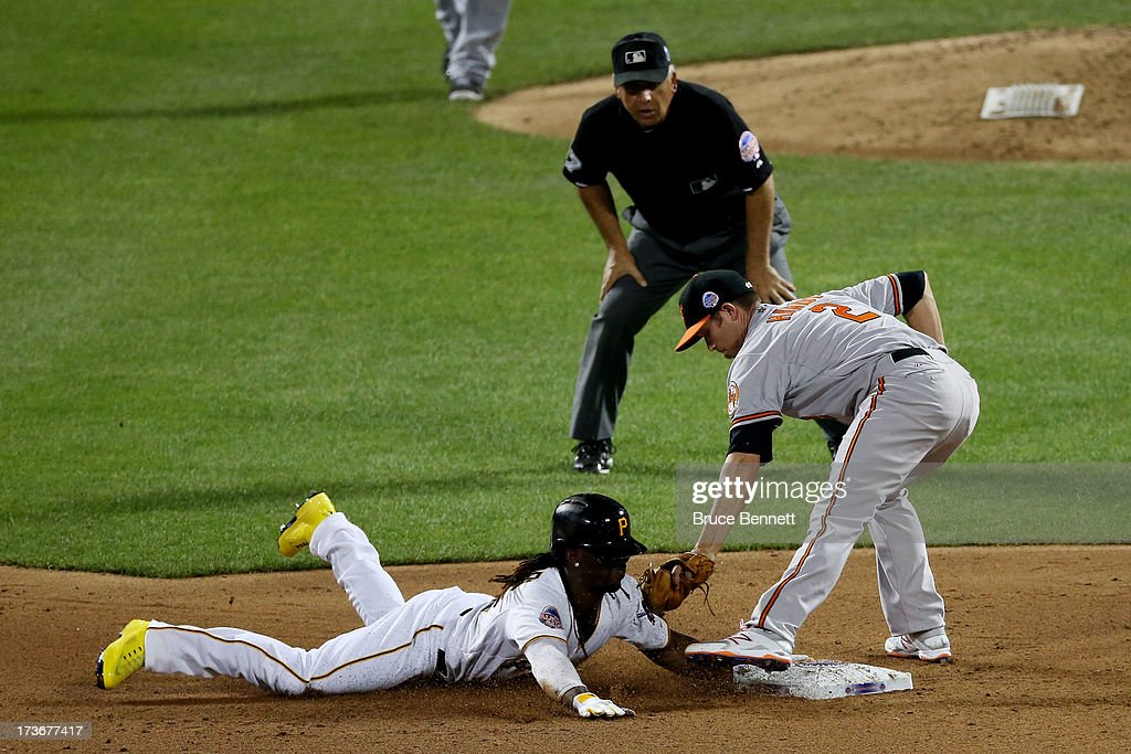 National League All-Star Andrew McCutchen #22 of the Pittsburgh Pirates steals second base under the tag from American League All-Star J.J. Hardy #2 of the Baltimore Orioles during the 84th MLB All-Star Game on July 16, 2013 at Citi Field in the Flushing neighborhood of the Queens borough of New York City.