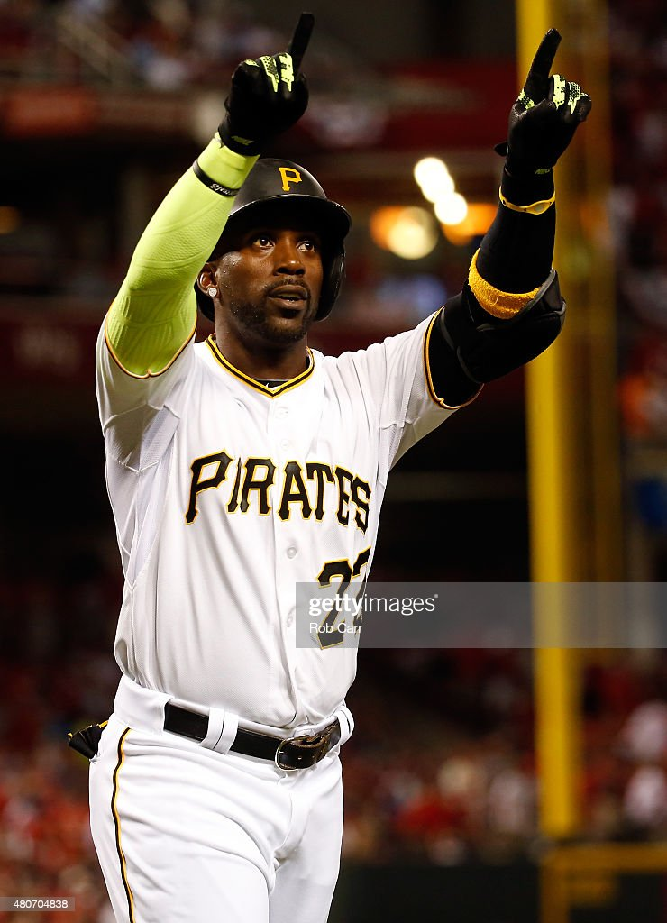 National League All-Star <a gi-track='captionPersonalityLinkClicked' href=/galleries/search?phrase=Andrew+McCutchen&family=editorial&specificpeople=2364814 ng-click='$event.stopPropagation()'>Andrew McCutchen</a> #22 of the Pittsburgh Pirates celebrates after scoring a solo home run in the sixth inning against American League All-Star Chris Archer #22 of the Tampa Bay Rays during the 86th MLB All-Star Game at the Great American Ball Park on July 14, 2015 in Cincinnati, Ohio.
