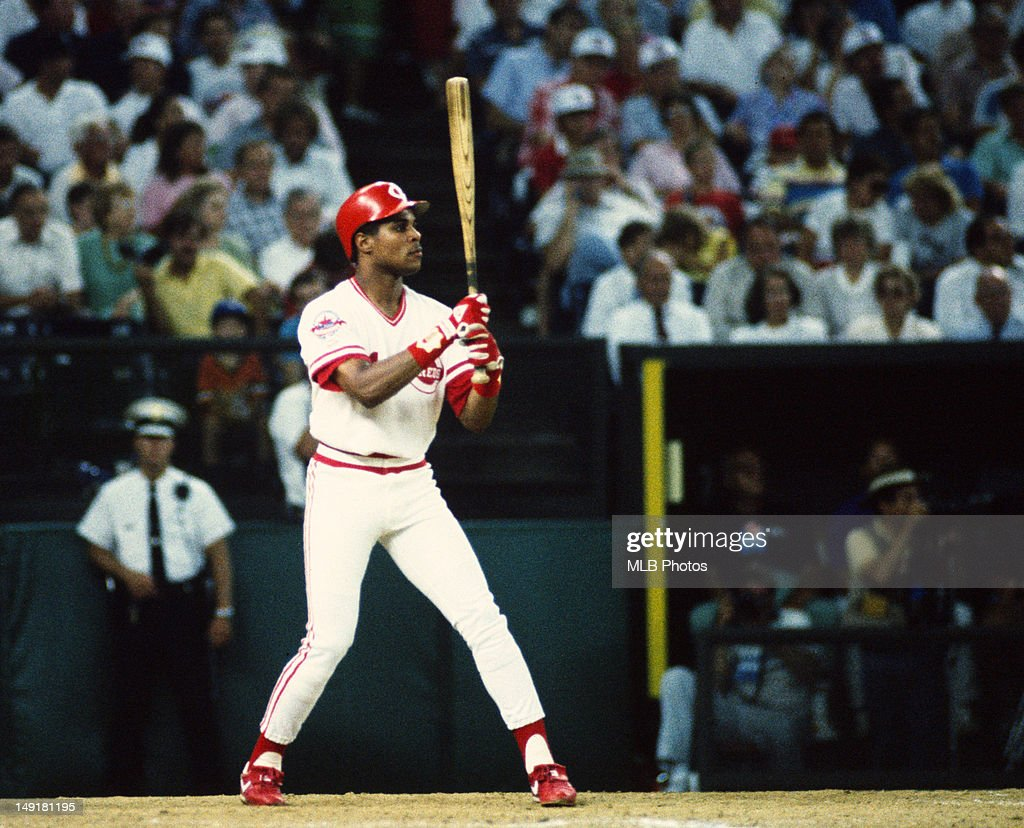National League All-Star <a gi-track='captionPersonalityLinkClicked' href=/galleries/search?phrase=Barry+Larkin&family=editorial&specificpeople=204522 ng-click='$event.stopPropagation()'>Barry Larkin</a> of the Cincinnati Reds bats during the 1988 MLB All-Star Game at Riverfront Stadium on July 12, 1988 in Cincinnati, Ohio.