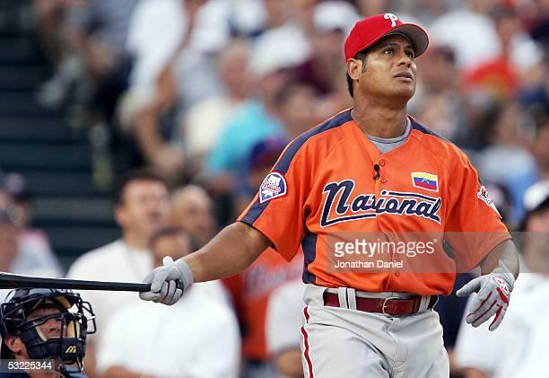 National League AllStar Bobby Abreu of the Philadelphia Phillies watches a home run during the 2005 Major League Baseball Home Run Derby at Comerica...