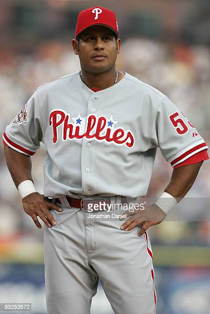 National League AllStar Bobby Abreu of the Philadelphia Phillies lines up during introductions for the 76th Major League Baseball AllStar Game at...