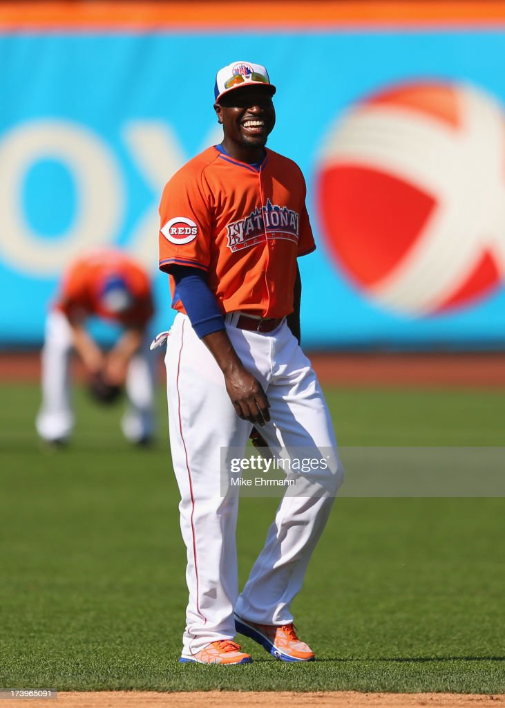 National League All-Star Brandon Phillips #4 of the Cincinnati Reds smiles during the 84th MLB All-Star Game on July 16, 2013 at Citi Field in the Flushing neighborhood of the Queens borough of New York City.