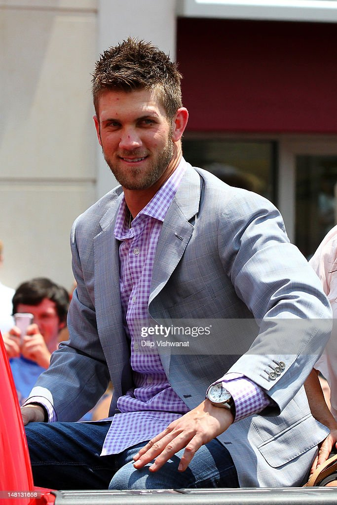 National League All-Star <a gi-track='captionPersonalityLinkClicked' href=/galleries/search?phrase=Bryce+Harper&family=editorial&specificpeople=5926486 ng-click='$event.stopPropagation()'>Bryce Harper</a> #34 of the Washington Nationals looks on during the All-Star Game Red Carpet Show presented by Chevrolet on July 10, 2012 in Kansas City, Missouri.
