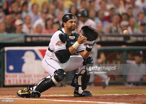 National League AllStar catcher Mike Piazza of the New York Mets attempts to catch the ball during the Major League Baseball 75th AllStar Game...