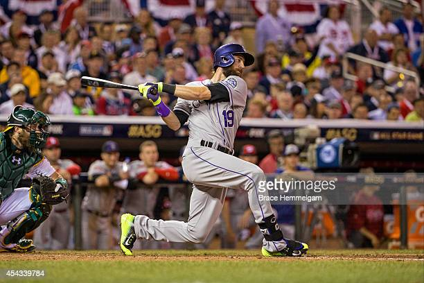 National League AllStar Charlie Blackmon of the Colorado Rockies during the 85th MLB AllStar Game at Target Field on July 15 2014 in Minneapolis...